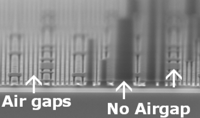 Dry 193nm litho used to mask off areas that will not be converted to air-gaps (source: Intel)