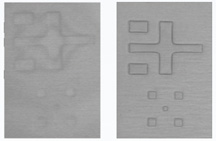 HB-LED GaN-epi on sapphire marks, (LEFT) with conventional illumination, and (RIGHT) with new illumination in EVG620HBL tool. (source: EV Group)